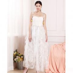 Udear时尚白色性感晚礼服中长款蓬蓬裙 晚会生日派对年会敬酒礼服