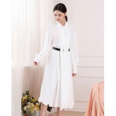 Udear2018秋冬新款女装A字裙白色长袖收腰修身潮流休闲连衣裙长裙