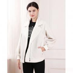Udear 2018秋冬新款女装白色羊羔毛加厚皮毛一体高端外套女短款