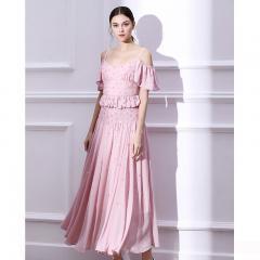 Udear粉色小晚礼服裙女 洋装名媛生日派对订婚吊带连衣裙中长款