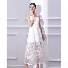 Udear宴会白色晚礼服女中长款名媛小礼服高贵年会生日派对显瘦