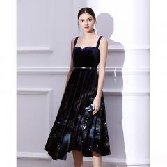 Udear晚礼服连衣裙名媛中长款黑色丝绒吊带裙女宴会派对小礼服